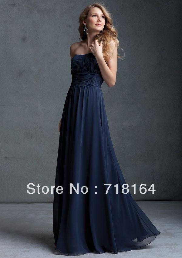 Elegant New Arrive Hot Long Floor Length Dark Blue Chiffon