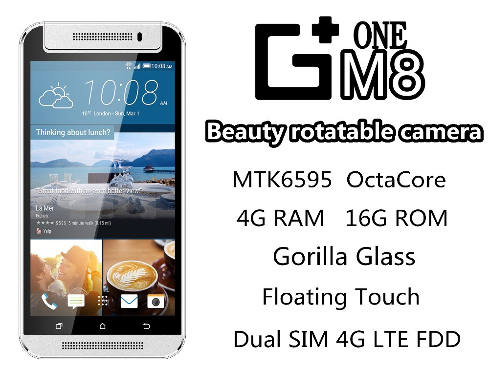 "New Original G+ one M8 4G LTE FDD MTK6595 octa core android smartphone mobile phone 4G RAM 16G ROM 16MP 5.5"" gorilla grass IPS(China (Mainland))"