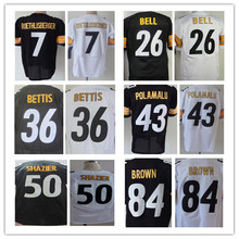 7 Ben Roethlisberger Jersey #26 LeVeon Bell Jersey #84 Antonio Brown Jersey 43 Troy Polamalu Elite Jersey Black White Size:M-3XL(China (Mainland))