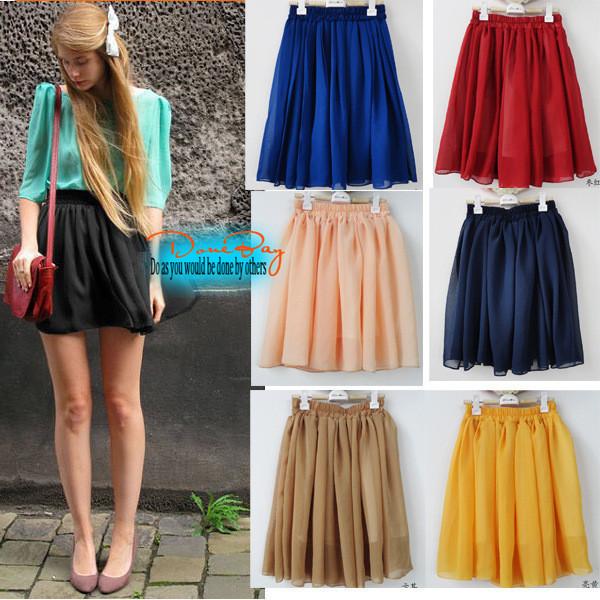 DoneBay 2015 Summer Vintage Fashion Pleated Mini Beach Skirts Sweet Girls Black Red Pink Green Chiffon High Waist Short Skirt 29(China (Mainland))