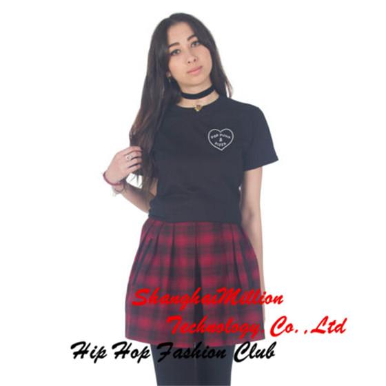 Unisex Pop Punk & Pizza T-shirt Top Fashion Blogger Cute Grunge Tumblr Slogan Tee(China (Mainland))