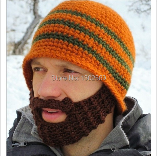 Knitting Funny Hats : Windproof cap beard funny knit hats autumn winter