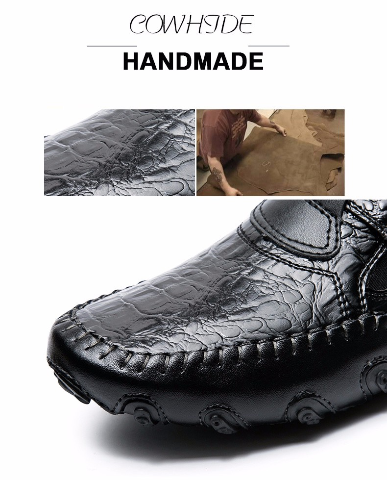 MVVT Spring Plus size men's loafers Genuine leather shoes men flats Comfort soft leather men casual shoes new style men's shoes