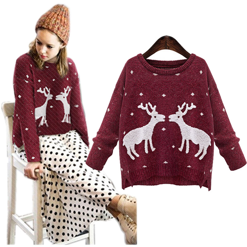 2015 Christmas sweater ladieswear fashion deer print cute women sweaters and pullovers casual knitted jumpers jersey mujer sale(China (Mainland))