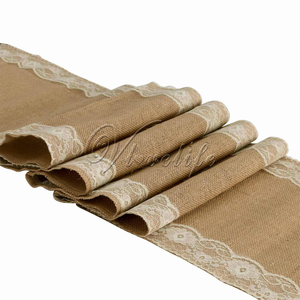 30cmx275cm Ivory Natural Vintage Burlap Lace Hessian Table Runner Wedding Party Decor Free Shipping(China (Mainland))