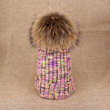 18cm 15cm pompom 100% real raccoon fur  winter hat for women 2016 new arrive print knitted skullies beanies gifts(China (Mainland))