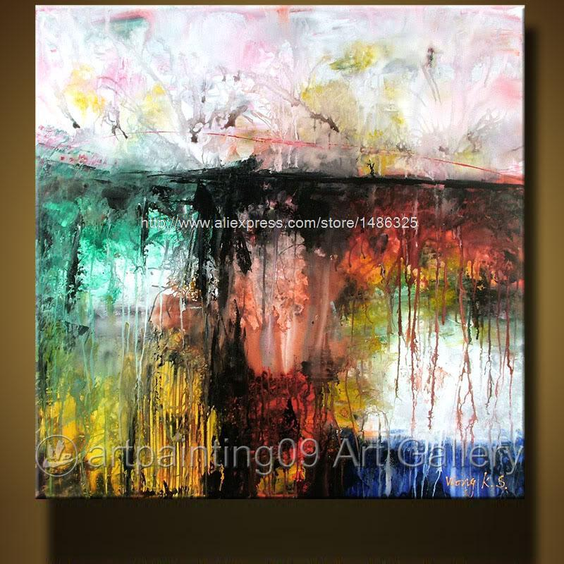 Wks modern contemporary abstract landscape art deco oil - Landscape paintings for living room ...