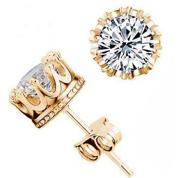 Мода корона 18 К позолоченные серьги женщины Brincos прата мужчины серебряный кристалл ...