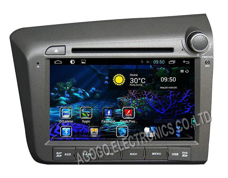 FOR HONDA CIVIC 2012 pure Android 4 4 car dvd Navigation audio gps Capacitive screen car