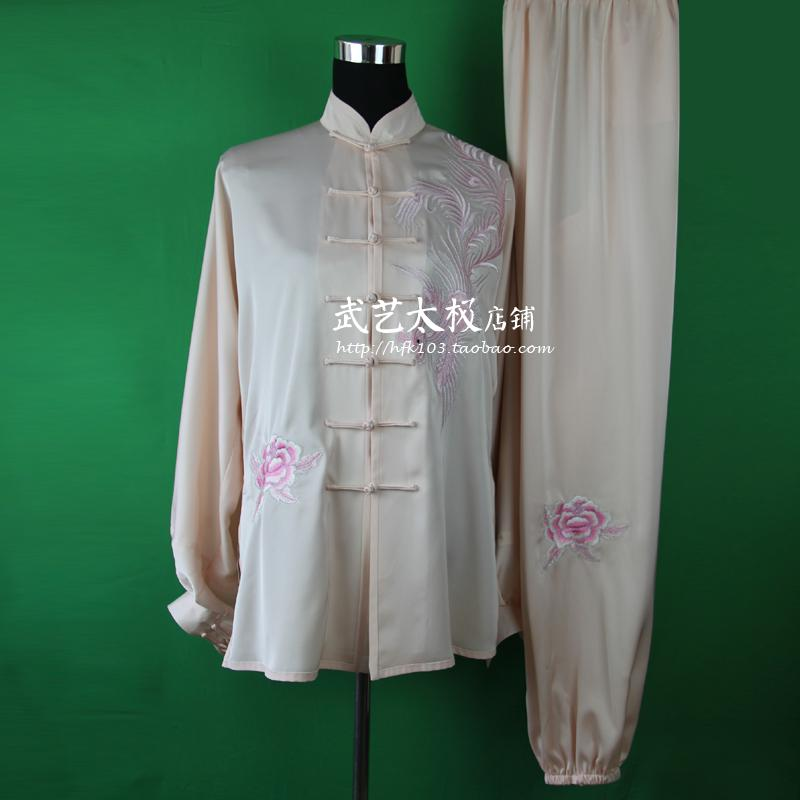 clothing customized Taijiquan practice martial arts clothing morning suit female pink short sleeved embroidered Phoenix<br><br>Aliexpress
