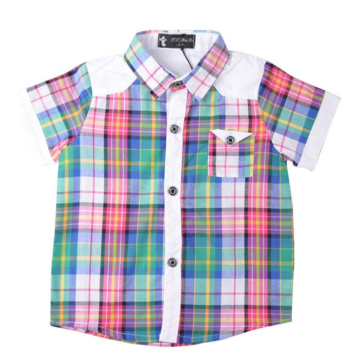 Children Cotton Plaid Short Sleeves Tops Boys FashionTurn-down Collar T-Shirts Kids Casual T shirts, Free Shipping A1946(China (Mainland))