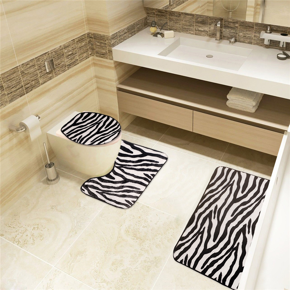 Black and white zebra bathroom carpet set of toilet seat lid cover bath mat for for Black and white bathroom mats