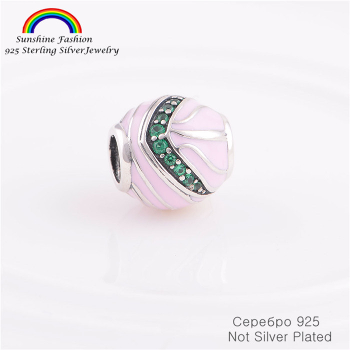 925-Sterling-Silver Brand Sale Pink Enamel Bead Fits Pandora Charms Bracelet Snake Chain Women DIY Jewelry Making(China (Mainland))