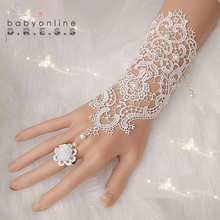1Pair Fingerless Lace  Wedding Gloves New Hot Sale Fashion White,Ivory Bride Bridal Gloves With Ring Bracelet(China (Mainland))