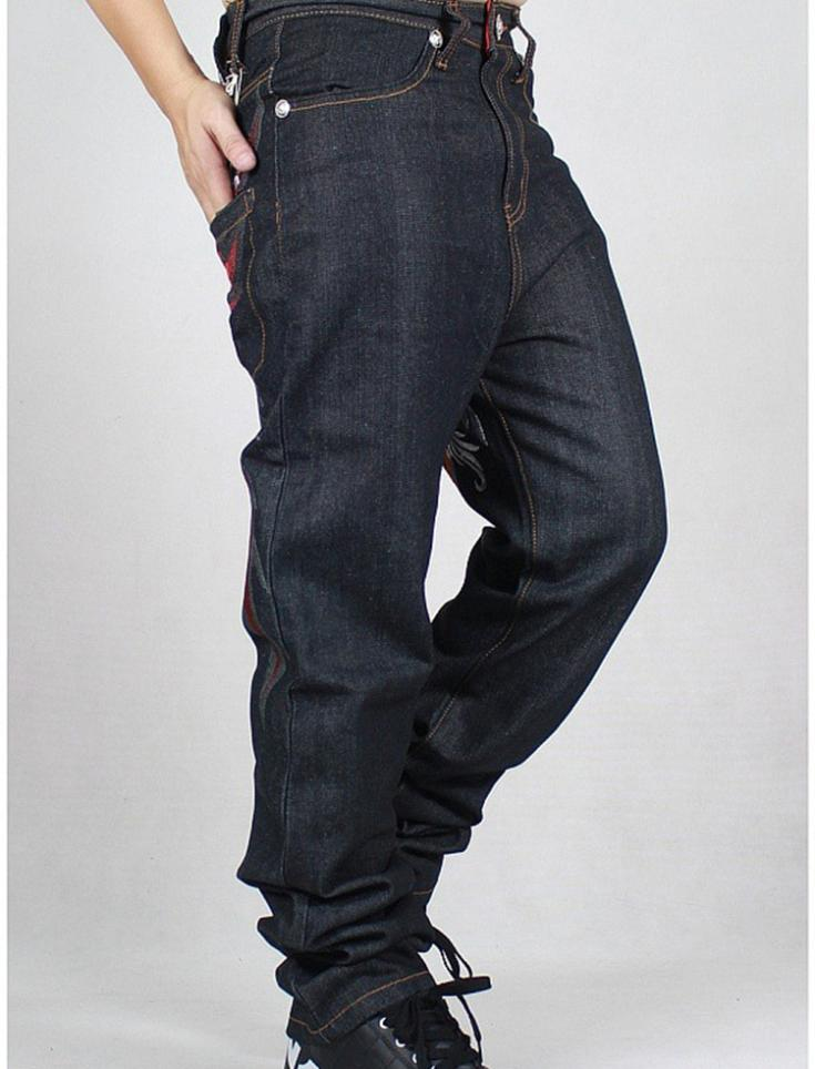 Black baggy jeans for men boyu0026#39;s hip hop trousers loose style fat pants mens big size dance ...