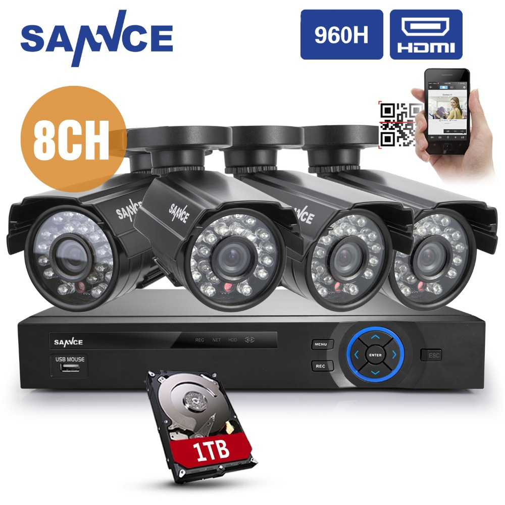 SANNCE 8CH DVR 960H IR Outdoor Surveillance Security Camera System +4 800TVL Cameras 1TB(China (Mainland))