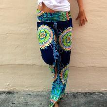 High Waist Women Sport Pants Bohemian Floral Print  Long Loose Trousers Wide Leg Pants(China (Mainland))