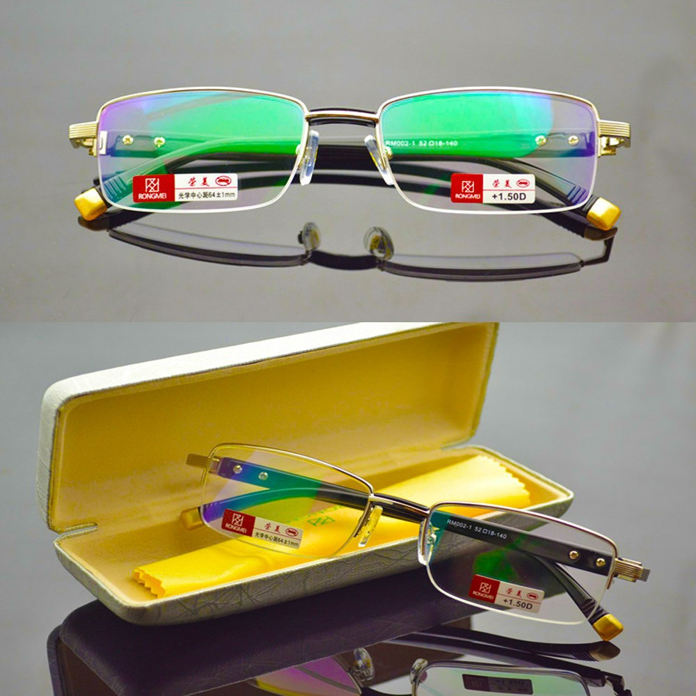 2016 gafas de lectura REAL PICTURE WITH BOX GOLD TITANIUM ALLOY MEN WOMEN READING GLASSES +1 +1.5 +2 +2.5 +3 +3.5 +4(China (Mainland))