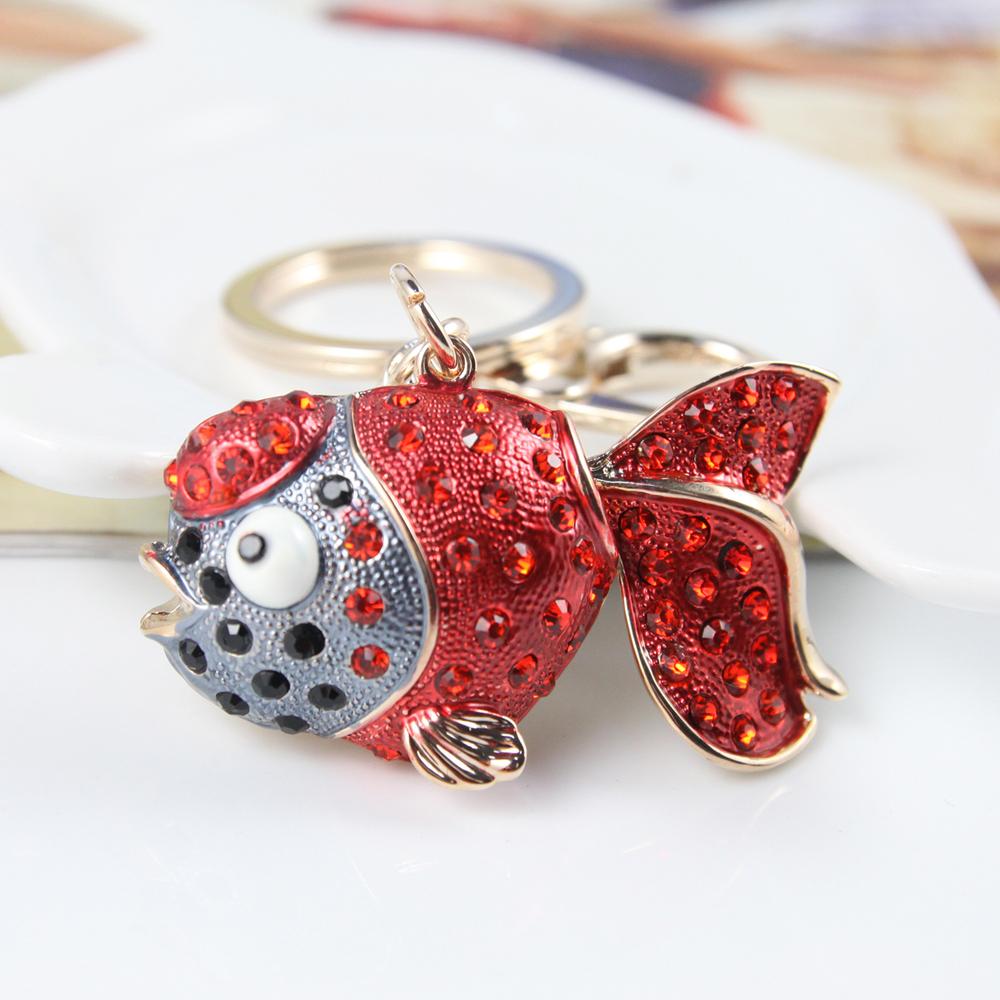 Metal Crystal Big Red Fish Keychain Fashion Animal Keyring Gift Accessory Purse Charm Handbag Pendant Free Shipping(China (Mainland))