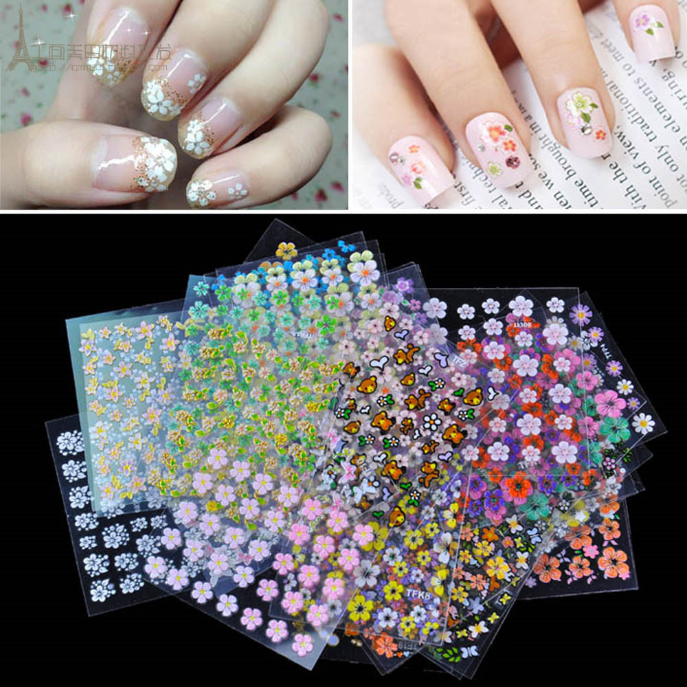 10 Sheets 3D Nail Art Stickers Mixed Decal DIY Decoration Transfer Manicure Tips Random Patterns(China (Mainland))