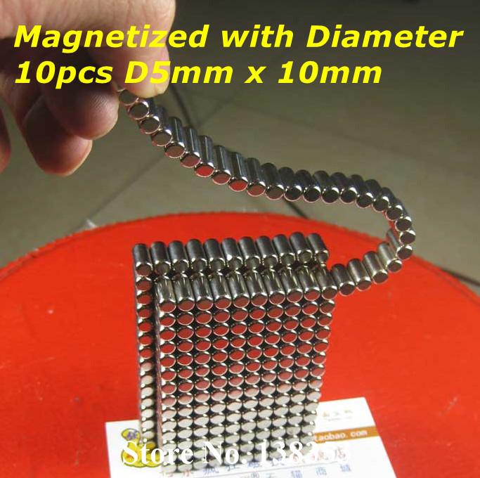 Гаджет  10pcs Bulk Neodymium Radially Magnetized Cylinder Magnets Dia 5mm x 10mm N38 Super Strong Rare Earth NdFeB Magnetic Stick None Строительство и Недвижимость