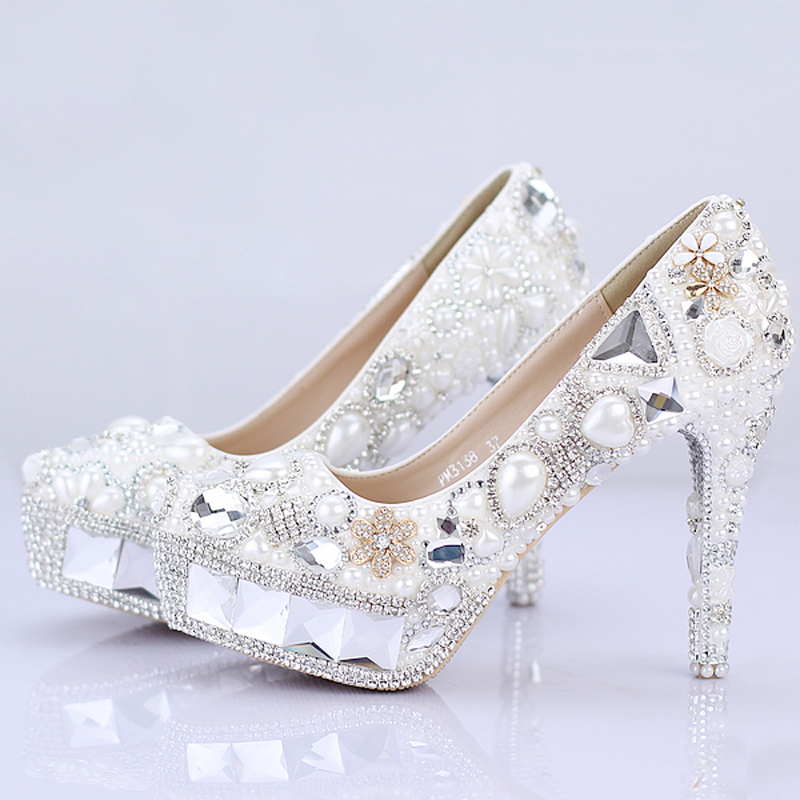 2016 Sparkling Crystal Bridal Wedding Shoes Pageant Evening Shoes Festival Party Prom High Heels White Pearl Women Banquet Shoes<br><br>Aliexpress