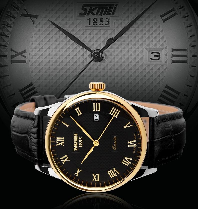 SKMEI Top Luxury Brand Mens Quartz Watch 30m Waterproof Genuine Leather Strap Calendar Watches Men Classic