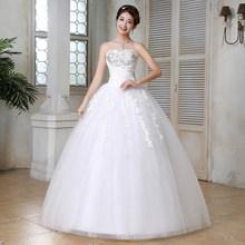 זה YiiYa חתונה שמלת סטרפלס מלא Crytral ארוך חתונת שמלות כלה ללא שרוולים תחרה עד נסיכת כדור שמלת HS162(China)
