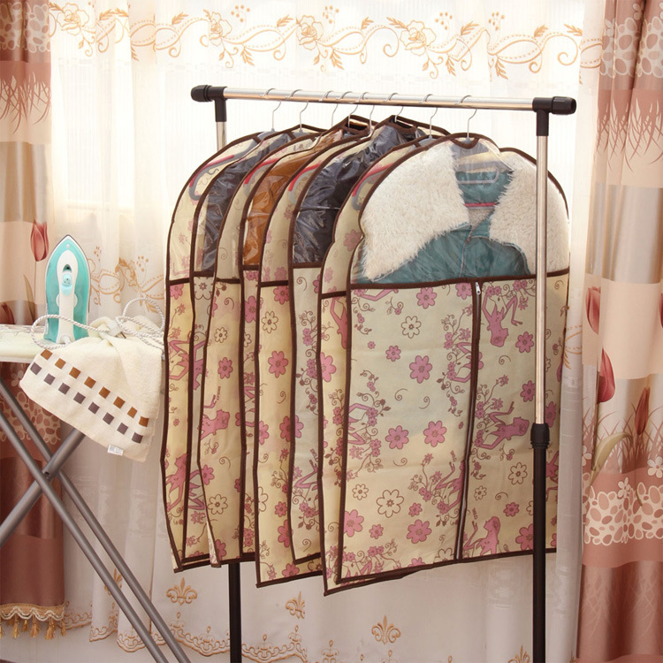 Woman flower Dress Clothes Garment Suit Cover clothing Storage bag hanging type Free shipping(China (Mainland))