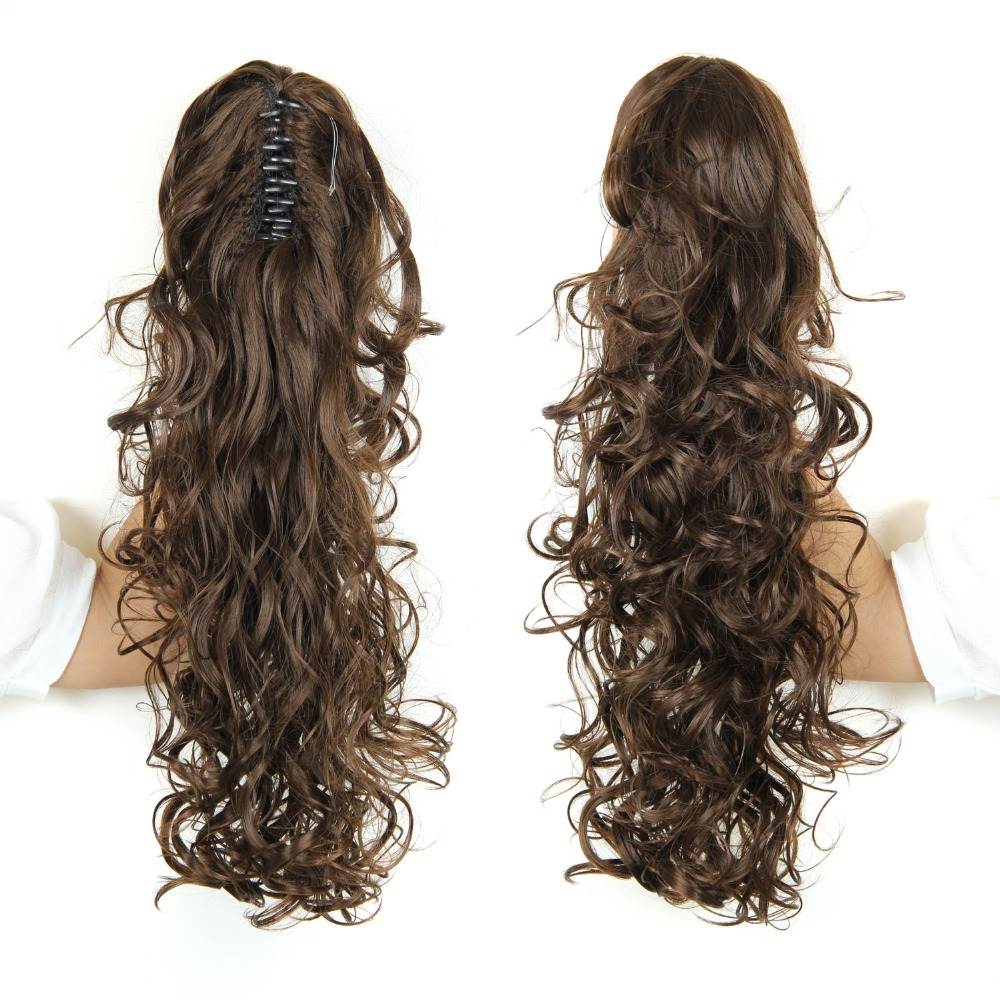 """Claw Clip Drawstring Ponytail 20"""" Long Fake Hair Extensions False Hair Pony Tails Horse Tress Curly Hairpieces of Fiber Japanese(China (Mainland))"""