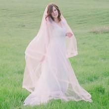 Custom Made Tulle Pink Cathedral Wedding Veil for Bride 2016 Wedding Accessories veu de noiva longo com renda Long Bridal Veils(China (Mainland))