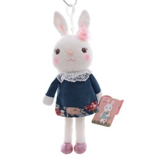 "Hot Selling Cute METOO Mini Jeans Skirts Tiramisu Bunny Rabbit Plush Bag Toy Doll 9"" New Free Shipping #LN"