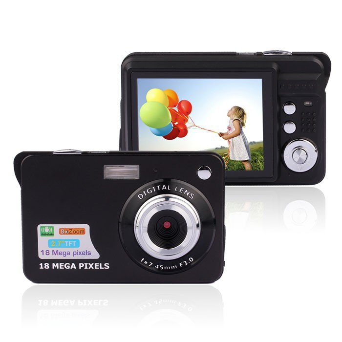 Mini Digital Camera 18MP With LCD 2.7 Inch 8X digital Zoom Rechargeable Battery photo camera(China (Mainland))