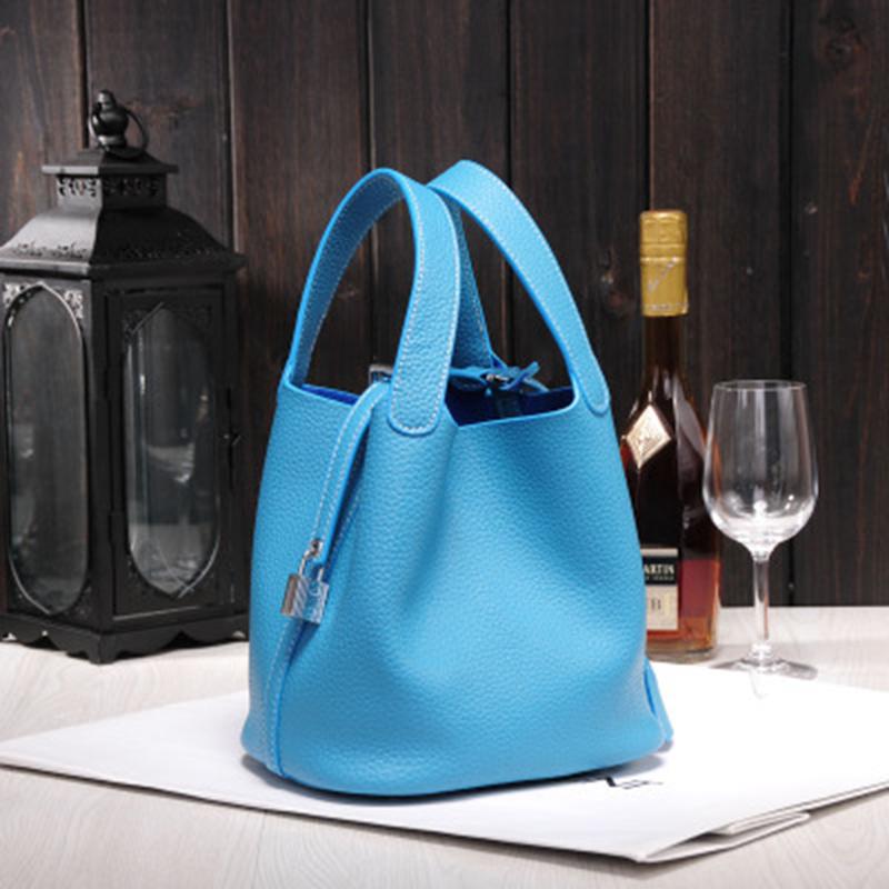 2017 Fashion Genuine Leather Bucket Bag Basket Classic Female Small Cowhide Handbag