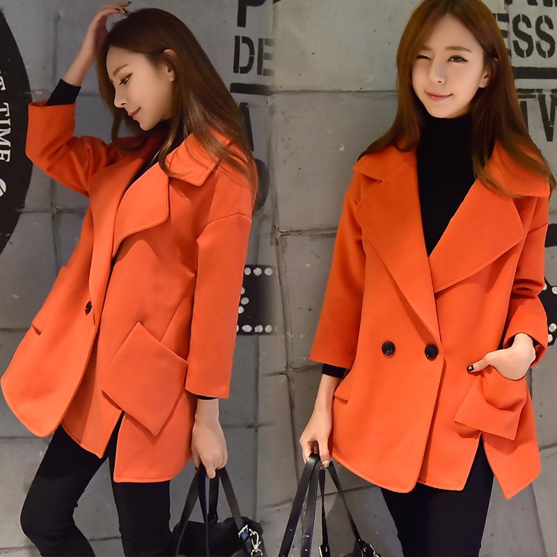 Women Coat 2016 New Spring Korean Fashion Split Loose Cloak Pink Long Woolen Jacket And Coat Bag Mail High Quality Free Shipping(China (Mainland))