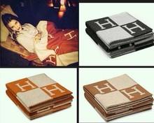 2015 Fashion Hot Sale H Blanket 100% wool 165*145cm Brand Designer Home Blankets Sofa Blankets Winter Cashmere Letter Blanket(China (Mainland))
