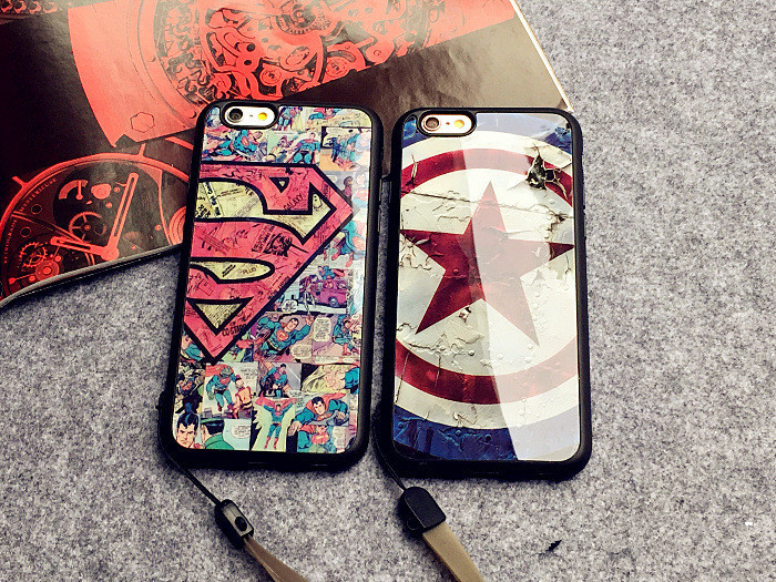 for iphone 6 6s 6 plus 6s plus case 5G 5S SE case Popular logo superman captain America soft rubber +acrylic hang rope case capa(China (Mainland))