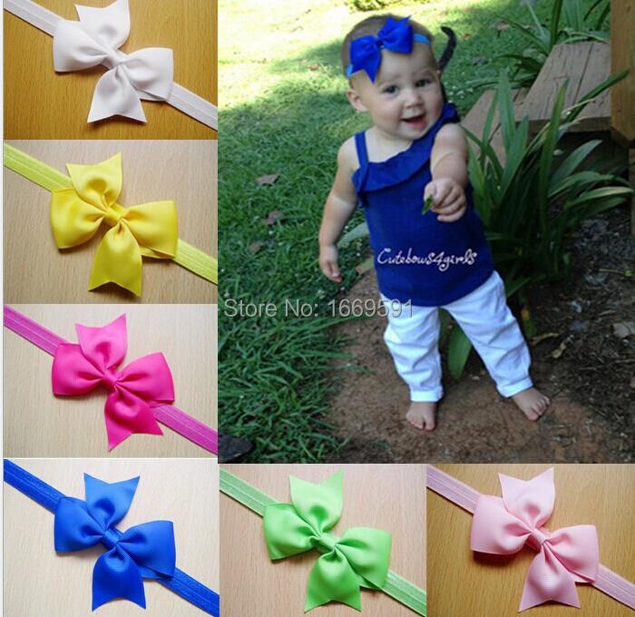 "3.5"" Baby grosgrain ribbon hair bows headband baby Headbands ,Girls' hair accessories boutique hair bows(China (Mainland))"