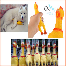 Funny gadgets 32cm High Quality novelty Yellow rubber Dog Toy Fun Novelty Squawking Screaming Shrilling Rubber Chicken for kids(China (Mainland))