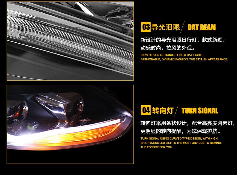 car styling For Ford Focus headlights U angel eyes DRL 2012-2014 For Ford Focus LED light bar DRL Q5 bi xenon lens h7 xenon