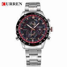 Superior de la venta! CURREN hombres de la marca deportes Relojes hombres militares Relojes de pulsera ocasional de acero lleno Men Watch impermeable Reloj Relojes