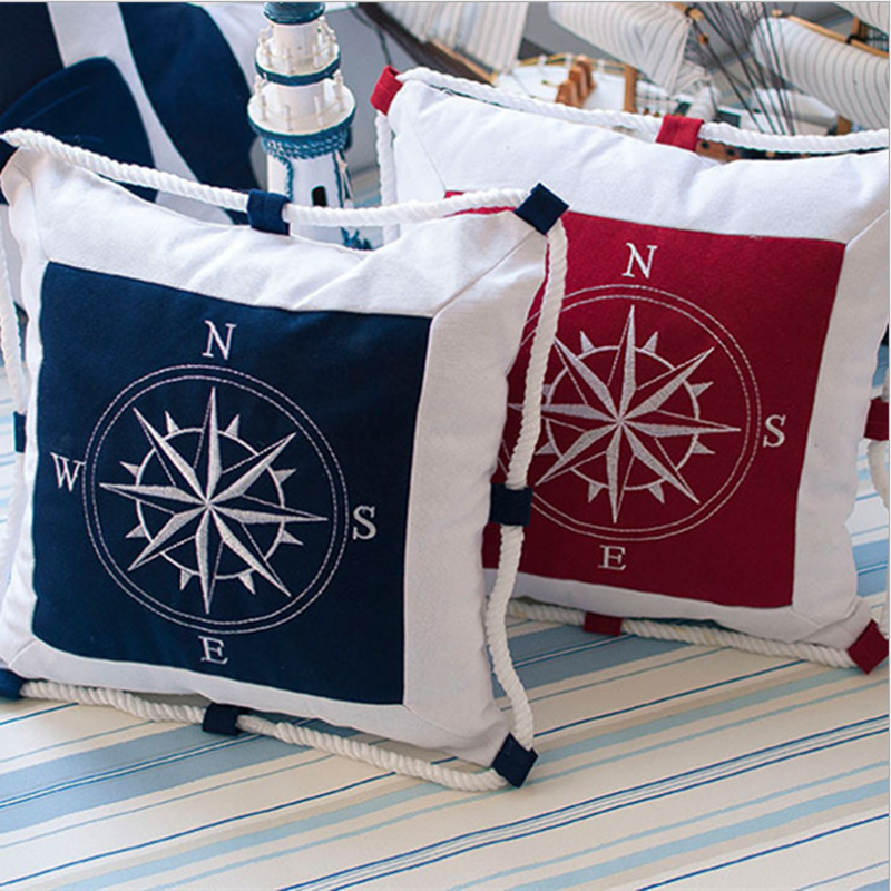 Hot Selling New Creative Printing Compass Mediterranean style Office Chair Back Cushion Sofa Throw Pillow Kids Room Decorative(China (Mainland))