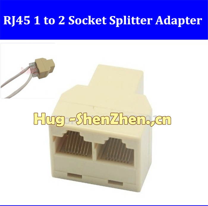 100pcs RJ45 CAT5 6 Ethernet cable LAN Port 1 to 2 Socket Splitter Connector Adapter PC(China (Mainland))