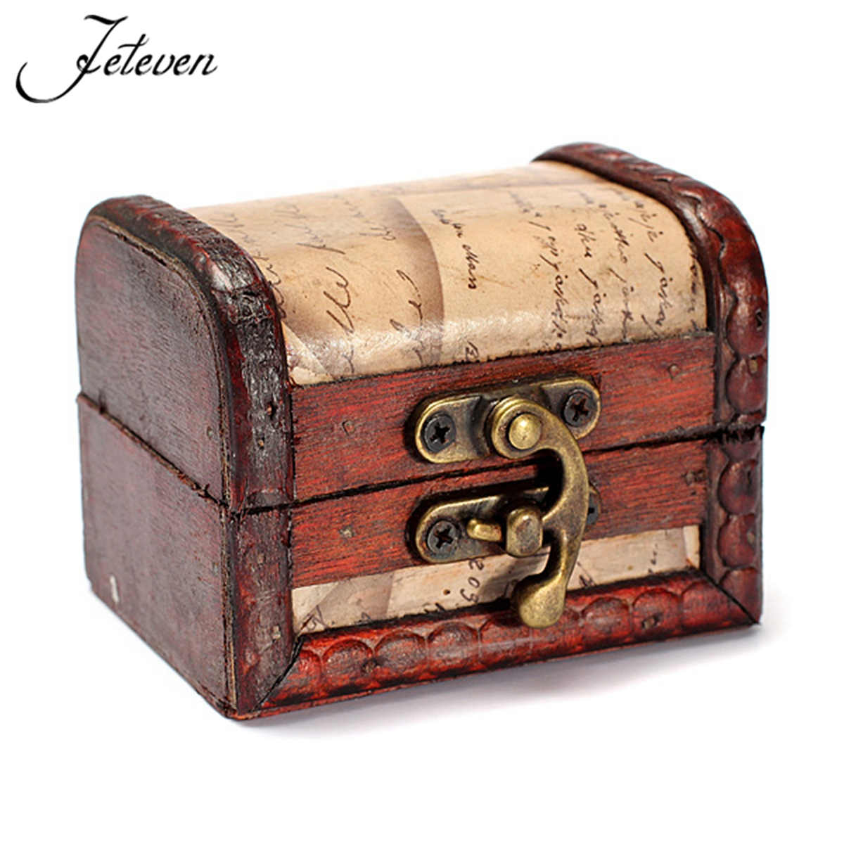 1pcs Vintage Stamp Small Metal Locking Wooden Box Treasure Chest Handmade Storage Cases Container For Gift Jewelry Organizer(China (Mainland))