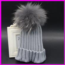 2015 Fashion Kids Winter Raccoon Fur Hats 100% Real 15cm Fur Pompom Beanies Cap For Baby Children(China (Mainland))