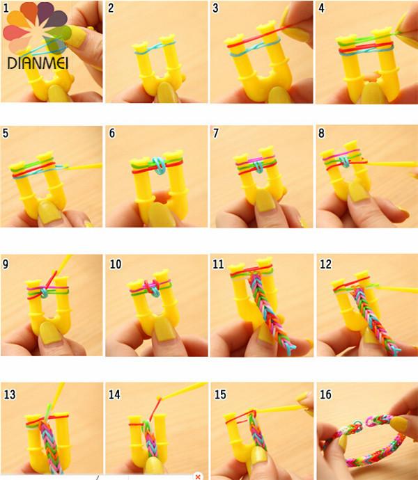 Как сделать браслет из резинок красивый на рогатке