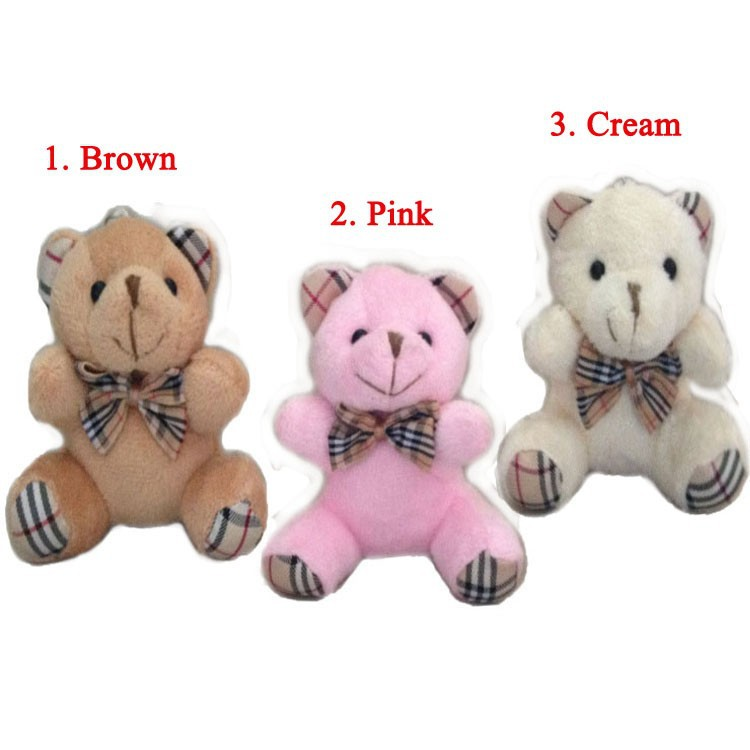 Free shipping Sitting 9cm Brown Teddy Bear Plush Pendant Toys For Bouquets Joint Bear mini Teddy Bear Toys For Keychain(China (Mainland))