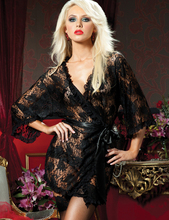 sexy lace black Perspective dress pajamas women satin nightgown long sleeve Robes 2014 new american style negligee free shipping(China (Mainland))