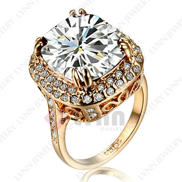 Free Shipping Ladies Luxury Jewelry 18K Rose Gold Plated Use Austrian Crystal Big Stone Wedding Ring Size K O Q S(China (Mainland))