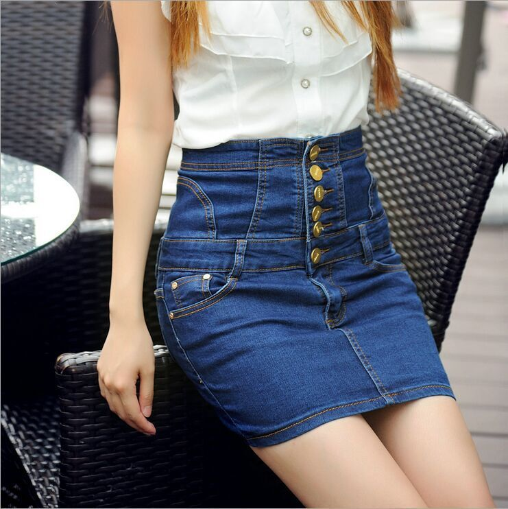 Elegant Women39s Summer Denim Jeans Short Mini Skirts High Waist Ruffle Jeans